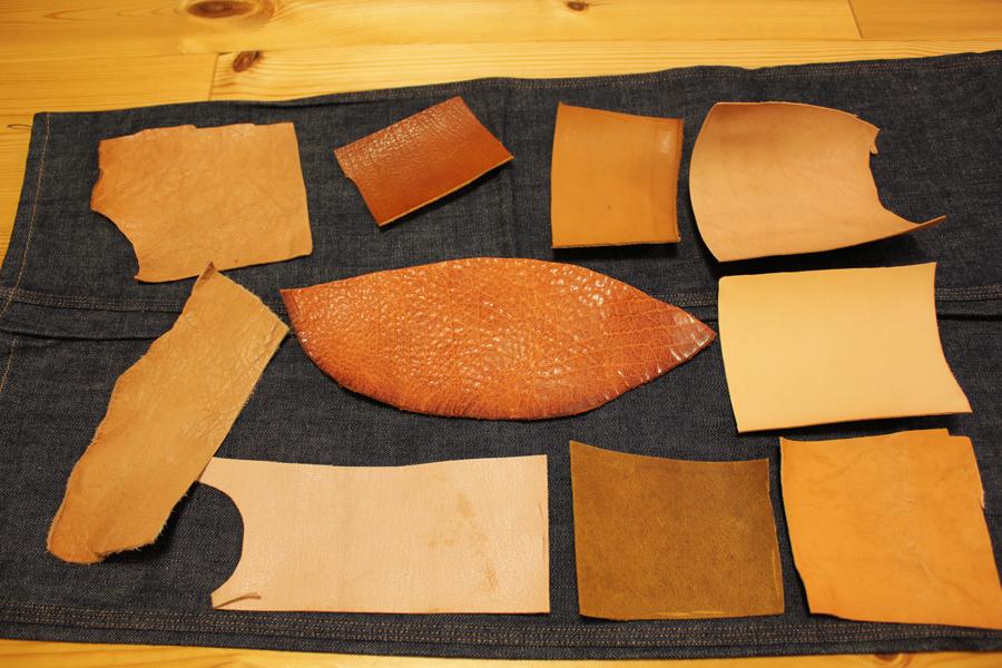 革のサンプルと洗濯テスト
