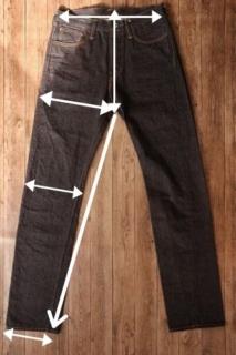 bridge jeansのサイズの測り方